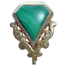 14K Gold Malachite Stick Pin Vintage