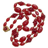 """Miriam Haskell Red Glass Beads 29"""""""