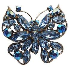 Regency Ice Blue Rhinestone Butterfly Vintage