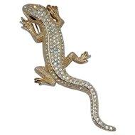 Henkel & Grosse Germany Gold Tone Rhinestone Lizard Salamander Gecko Pin Brooch