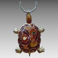 Eisenberg Enamel Turtle Necklace 1970s