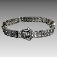 Diamonbar Sterling Rhinestone Buckle Bracelet