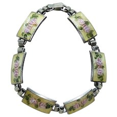 Sterling Guilloche Enamel Painted Roses Link Bracelet