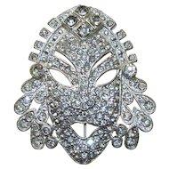 Rhinestone Face Mask Pin Brooch AJ
