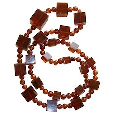 Russian Baltic Amber Large Square and Round Beaded Necklace