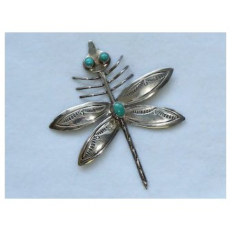 Dragonfly Navajo Sterling 925 Turquoise Pin Brooch Signed L. Smiley