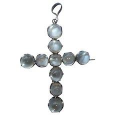 Victorian Sterling Cats Eye Moonstone Cross Pin Pendant
