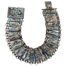 Chinese Silver Enamel Figural Multi Link Bracelet