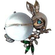 Crown Trifari Sterling Vermeil Rabbit Jelly Belly 1943