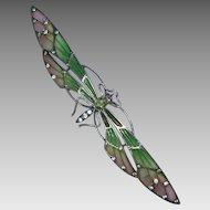 Art Nouveau Plique a Jour Peridot Dragonfly German Signed HL