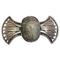 Egyptian Scarab Stone Silver Pin Cairo Vintage
