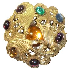 Miriam Haskell Russian Brass Color Cabochons Pin Vintage