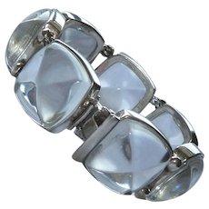 Sterling Silver 925 Crystal Square Link Bracelet Signed