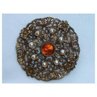 Joseff of Hollywood Lacey Imitation Pearl Amber Glass Cabochon Pin Brooch