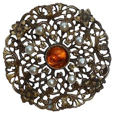 Joseff of Hollywood Lacey Imitation Pearl Amber Glass Cabochon Pin Brooch