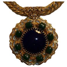 Miriam Haskell Medallion Pendant Cobalt Green
