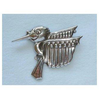 Hector Aguilar Hummingbird Sterling 925 Pin Brooch 1940
