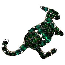 Kangaroo Green Rhinestone Fred A Block Pin