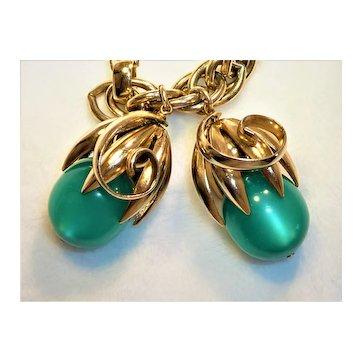 Napier Cumquat Green Moonglow Bracelet 1950s-1960s Bertolli