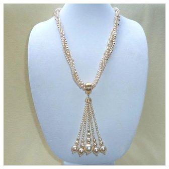 Kenneth J Lane Torsade Imitation Champagne Pearl Necklace 1963-1973