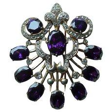 Sterling Vermeil Eisenberg Original Purple Stone Fur Clip