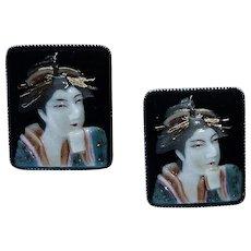 Toshikane Geisha Porcelain Signed Earrings