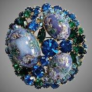 Juliana Easter Egg Purple Blue Green Aurora Rhinestone Pin Brooch