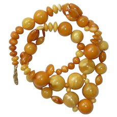 Egg yolk and Butterscotch Baltic Amber Necklace