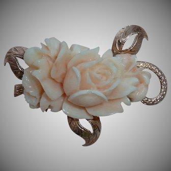 Angel Skin Coral Carved Flower 14K Rose Gold Setting