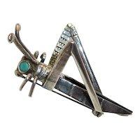 Navajo Sterling Turquoise Grasshopper Vintage Pin