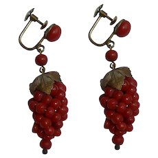Victorian Red Coral Cluster Earrings