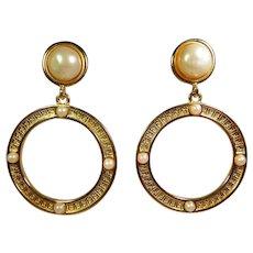 Fendi 1980s Gold Tone Glass Pearl Hoop Earrings