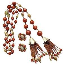 """Hobe Bakelite Glass Bead Lariat Necklace 42"""" Earrings"""
