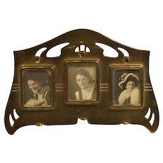 Art Nouveau Brass Small Triple Frame German