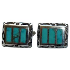 Navajo Sterling Windowpane Turquoise Cufflinks