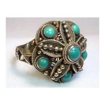 Chinese Turquoise Silver Vermeil Filigree Ring Vintage