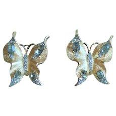 Butterfly Earrings Crown Trifari 1950s