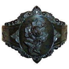 Vulcanite Flower Design Victorian Bracelet Hinged