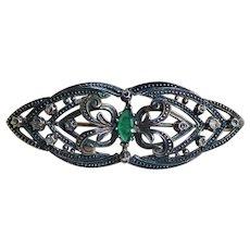 Rose Cut Diamonds Sterling Victorian Brooch Pin