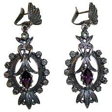 Rose Cut Diamonds Sterling Victorian Earrings