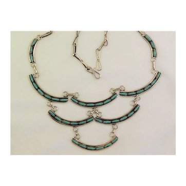 Zuni Petit Point Turquoise Sterling Tiered Necklace Vintage