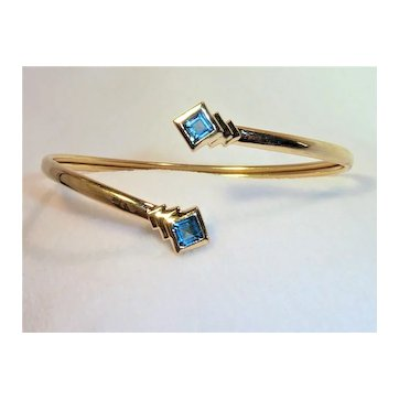 14K Gold Blue Topaz Bracelet Vintage
