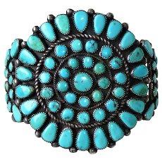 Zuni Cluster Turquoise Sterling Cuff Bracelet Vintage