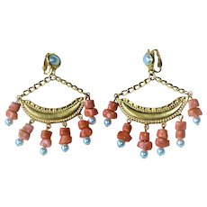 Kenneth Lane Coral Half Moon Faux Coral Drops 60s -70s