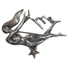Margot de Taxco Virgo Figural Sterling Pin Brooch