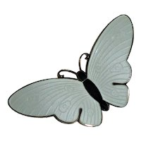 Sterling Vermeil White Guilloche Butterfly Pin Norway