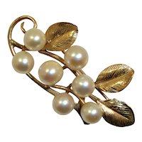 14k Gold Ming's Cultured Pearls Leaf Branch Pin Vintage