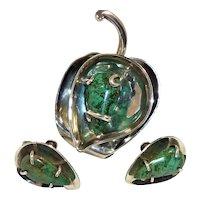 Los Castillo Sterling Turquoise Leaf Pin Earrings Set Vintage