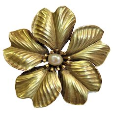 14k Gold Flower Natural Pearl Pin Pendant Victorian