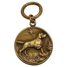 14k Gold Hunting Dog Locket Vintage